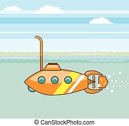 spotprent, duikboot