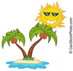 spotprent, eiland, met, twee, palmboom