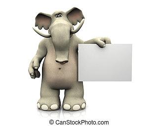 spotprent, elefant, met, leeg, teken.