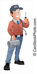 spotprent, elektromonteur, illustratie