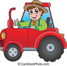 spotprent, farmer, op, tractor