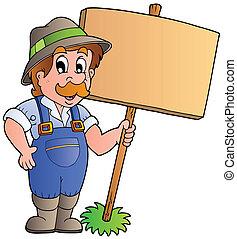 spotprent, farmer, vasthouden, wooden board
