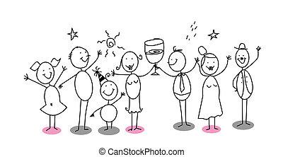 spotprent, feestje