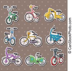 spotprent, fiets, stickers