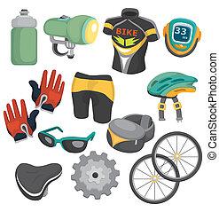 spotprent, fiets, uitrusting, pictogram, set