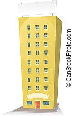 spotprent, gebouw, met, meldingsbord