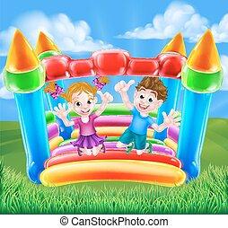 spotprent, geitjes, op, bouncy, kasteel