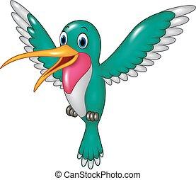 spotprent, gekke , kolibrie, vliegen