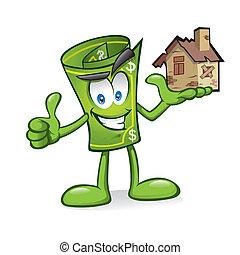 spotprent, geld, met, beschadigd, huizen