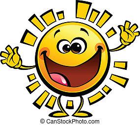 spotprent, gele zon, baby, schattig, het glimlachen, karakter
