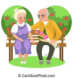 spotprent, gelukkig paar, zittende , in, tuin, op, bankje