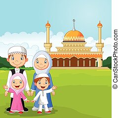 spotprent, gelukkige familie, moslim