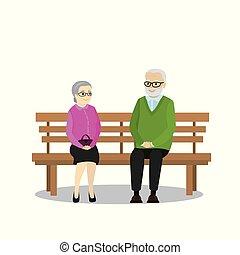 spotprent, gepensioneerden, zittende , op, een, bankje
