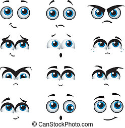 spotprent, gezichten, met, gevarieerd, uitdrukkingen