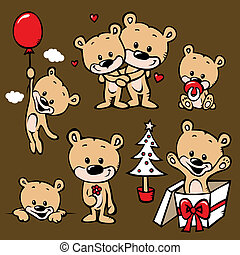spotprent, gezin, beer, schattig