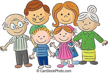 spotprent, gezin, compleet, ouder, care