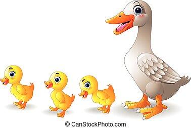 spotprent, gezin, eend