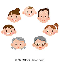 spotprent, gezin, gezicht, iconen