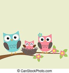 spotprent, gezin, van, uilen