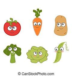 spotprent, groente, schattig