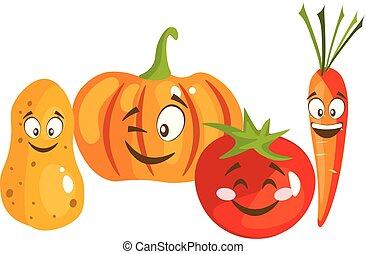 spotprent, groente, schattig, karakters, gezicht