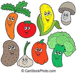 spotprent, groente, verzameling, 1