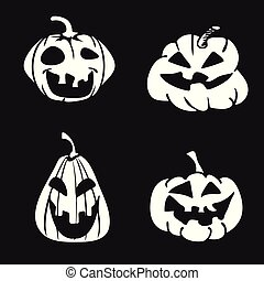spotprent, halloween, pompoen, gezicht, pictogram