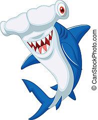 spotprent, hammerhead shark, schattig