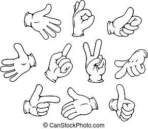 spotprent, hand, gebaren, set