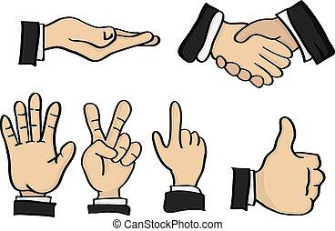 spotprent, hand, gebaren, vector, illustratie