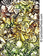 spotprent, hand, gedetailleerd, banner., illustraties, doodle, getrokken, fastfood