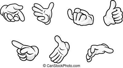 spotprent, handen