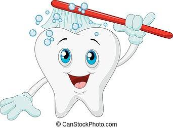 spotprent, het glimlachen, tand, met, toothbru