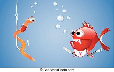 spotprent, het kijken, kwaad, rode vis