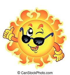 spotprent, het knipogen, zon, met, zonnebrillen