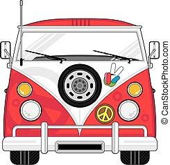 spotprent, hippie, bestelbus