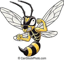 spotprent, hornet, mascotte