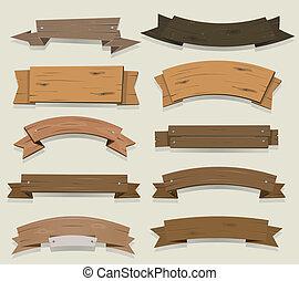 spotprent, hout, banieren, en, linten