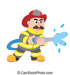 spotprent, illustratie, brandweerman