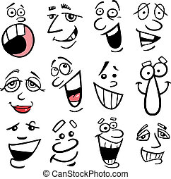 spotprent, illustratie, emoties