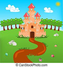spotprent, illustratie, van, kasteel