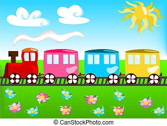 spotprent, illustratie, van, trein
