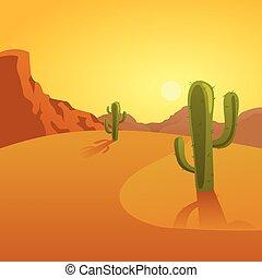 spotprent, illustratie, woestijn