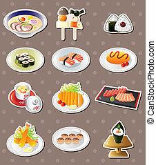 spotprent, japans voedsel, stickers