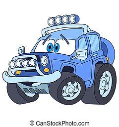 spotprent, jeep, auto