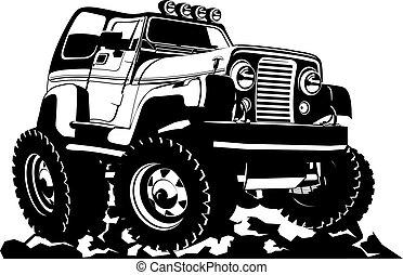 spotprent, jeep