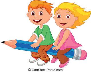 spotprent, jongen en meisje, vliegen, op, een, pe
