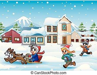 spotprent, jongen, paardrijden, sled, op, de, het sneeuwen, dorp, met, rennende , geitjes