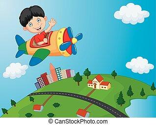 spotprent, jongen, paardrijden, vliegtuig