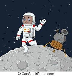 spotprent, jongen, ruimtevaarder, hand, zwaaiende